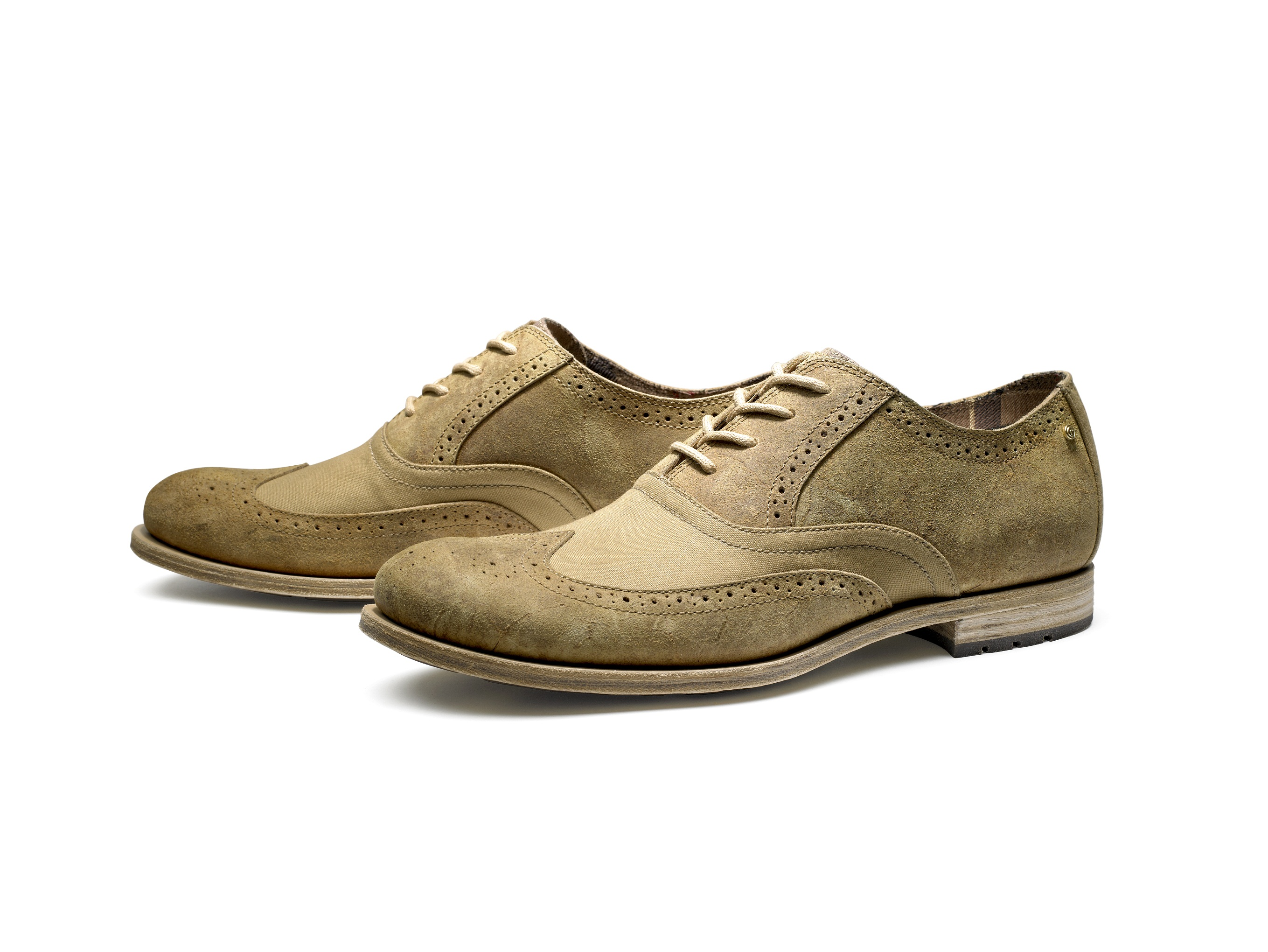 Rockport x Barbour Wing Tip (camel-muted tartan)