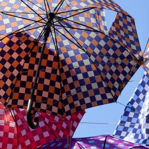 Parasols in a Sukosan restaurant. Croatia