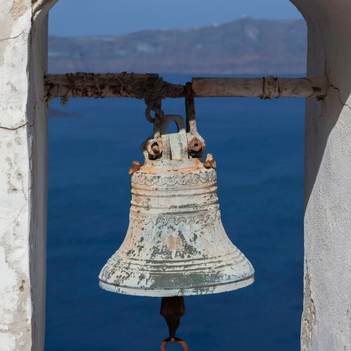 Ancient bell in Fira on the island of Santorini, Cyclades, Greece.