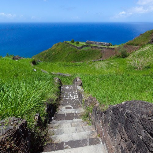 Stairs at Brimstone Hill Fortress National Park, Saint Kitts.