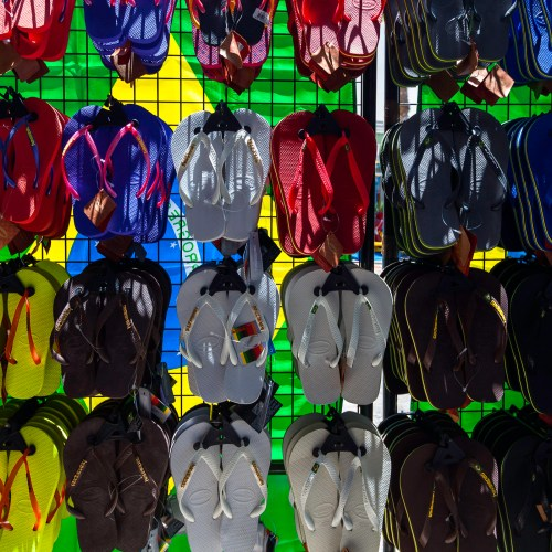 vibrant sandals on display at carribean beach, St Maarten