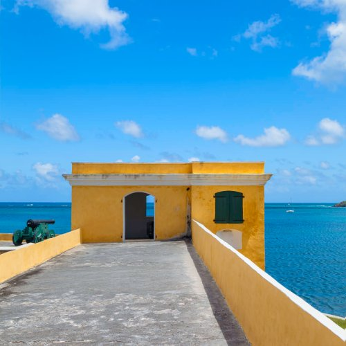 Yellow guard tower at Fort Christiansvaern, Christiansted, St Croix, U.S. Virgin Islands.