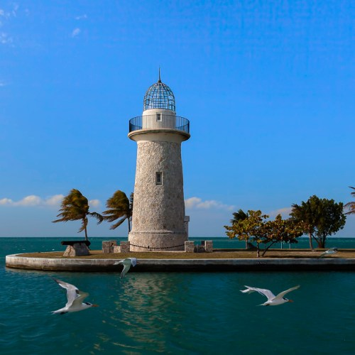 Lighthouse with sea gulls at Biscayne National Park, Florida. USA