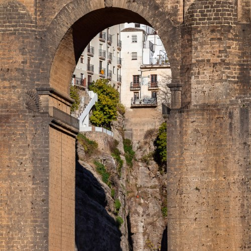 Iconic New Bridge in Ronda, one of the famous white villages in Andalusia, Spain.