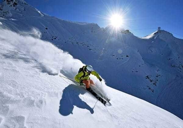 Skiing on the Andermatt Swiss Alps