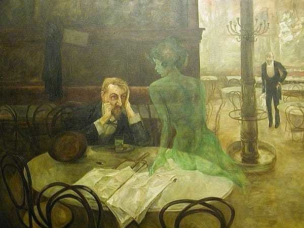 "The ""Green Fairy"" seducing an Absinthe patron"