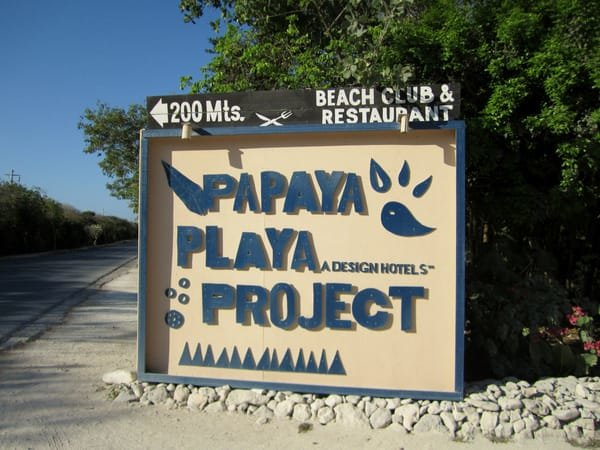 Entrance to the Papaya Playa Project in Tulum, Mexico