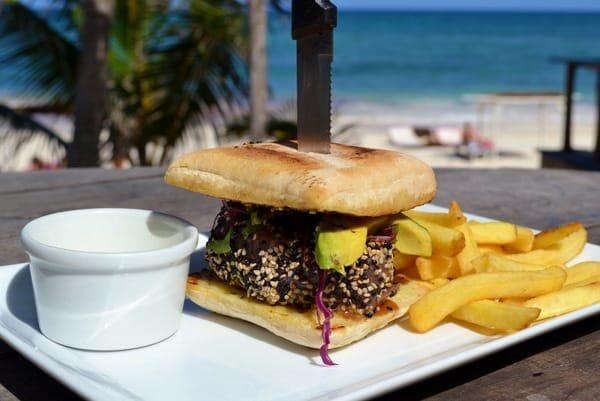 Seared tuna burger at the Papaya Playa Project