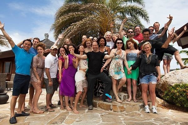 The entrepreneurs and guests on Necker Island