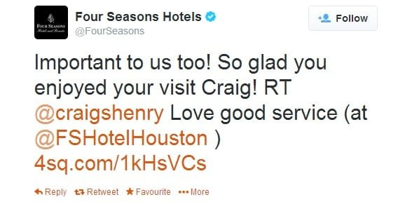 Four Seasons Twitter Customer Interaction