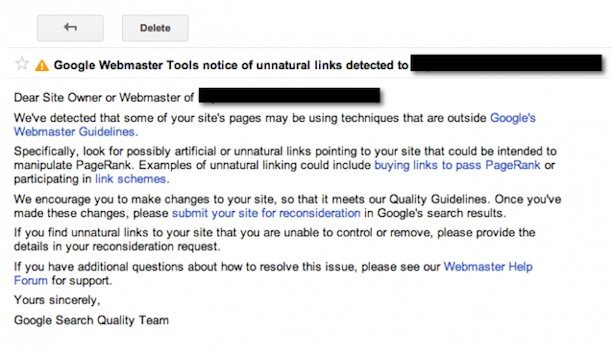 Unnatural Links Notice from Google