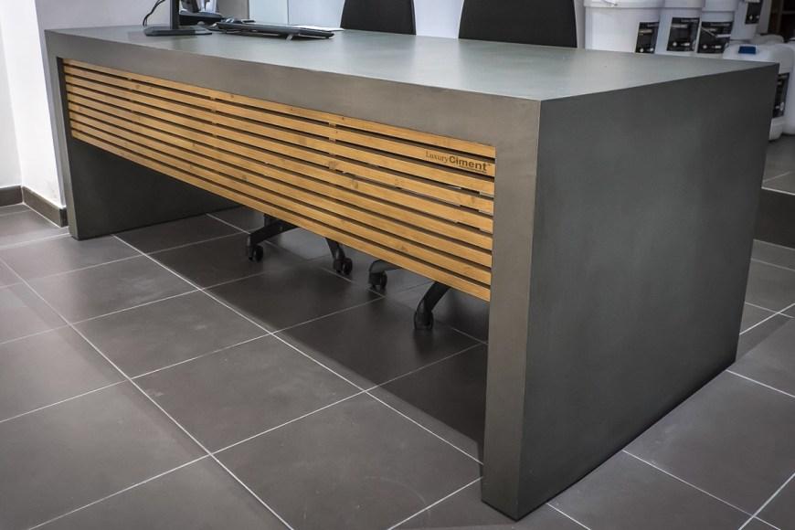 mueble de diseño revestido con microcemento