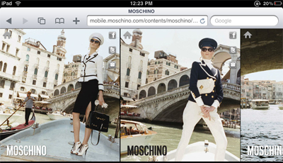 Images from Moschino's Fall 2011 campaign on the mobile site