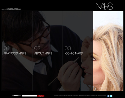 Nars cosmetics new Web site