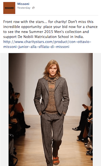 Missoni charity auction Facebook