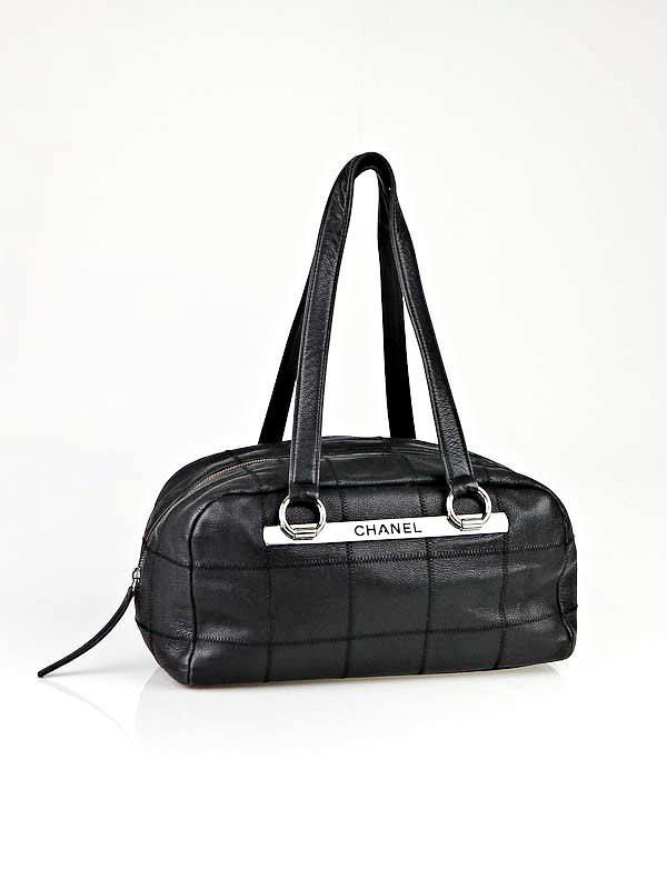 b9fb7812d2d032 Chanel Black Caviar Leather East West Satchel Bag - Luxurylana Boutique