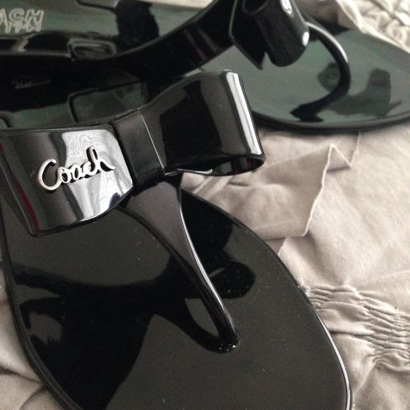 Coach Black Jelly Bow Rubber Flip Flops-2
