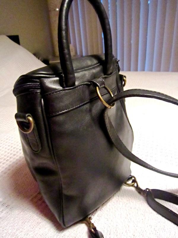 Genuine Black Cowhide Leather Zip-Top Backpack-1