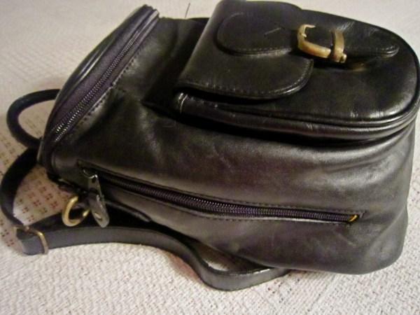 Genuine Black Cowhide Leather Zip-Top Backpack-3