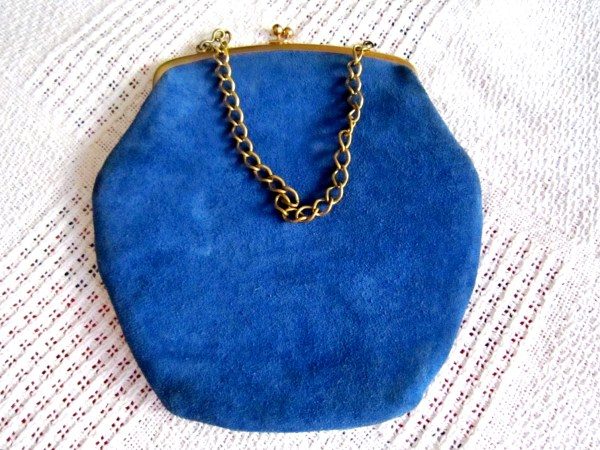 Triangle New York Blue Suede Kiss-Lock Handbag-1