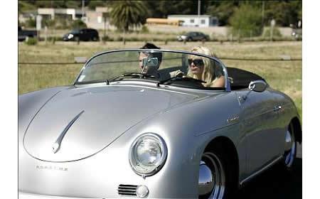 Britney driving vintage Porsche
