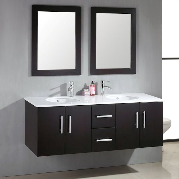 cambridge plumbing 8135 59 wood porcelain double basin sink vanity set with polished chrome faucets
