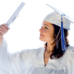 Female student wearing graduation robes and mortar board.