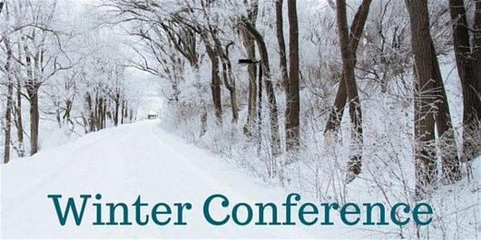 "Snowy trees and the words ""Winter Conference"""