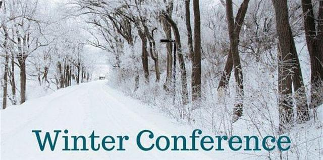 """Snowy trees and the words """"Winter Conference"""""""
