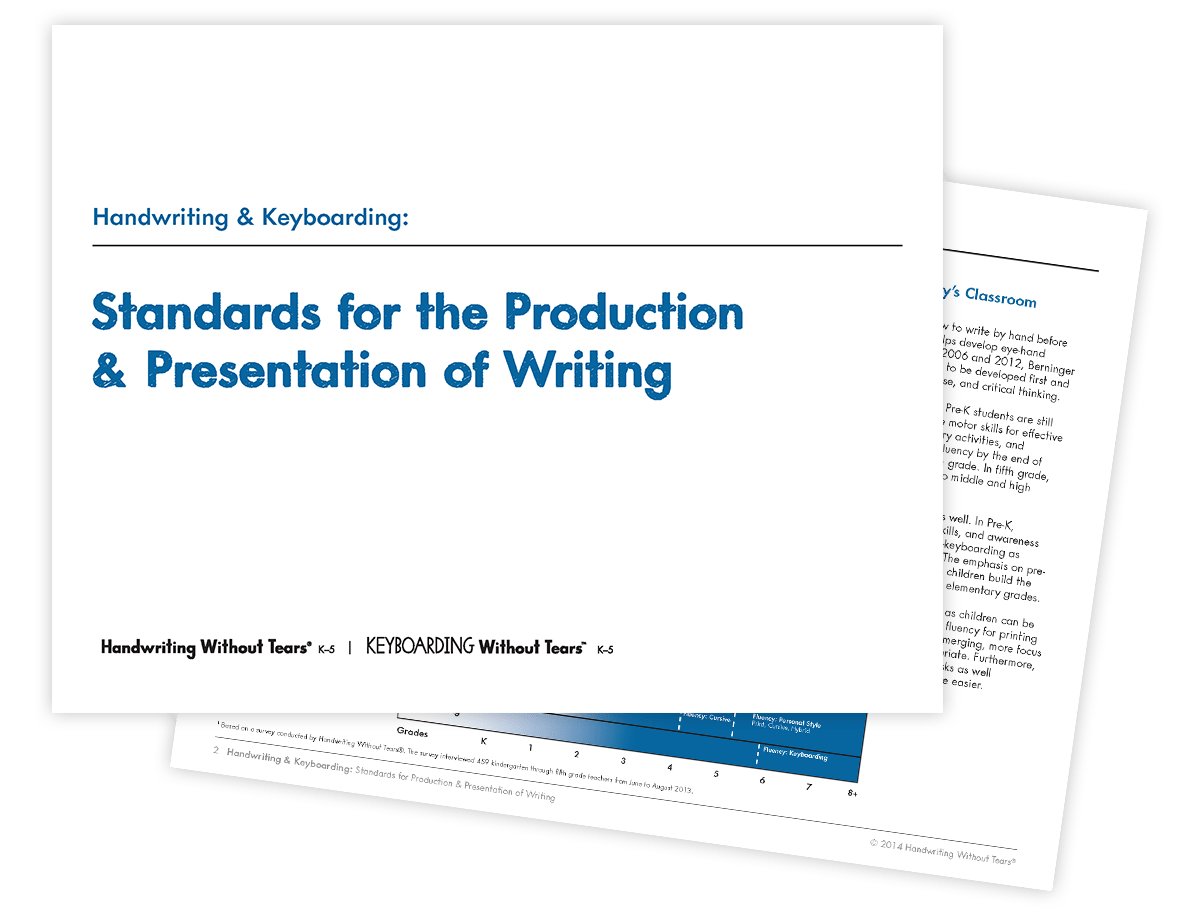 Handwriting Amp Keyboarding Standards For The Production Amp Presentation Of Writing