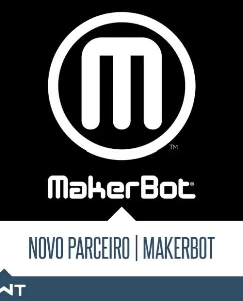 Logo da empresa Markerbot em branco com fundo preto. Confira a mais nova parceria da LWT no ramo de impressão 3D!