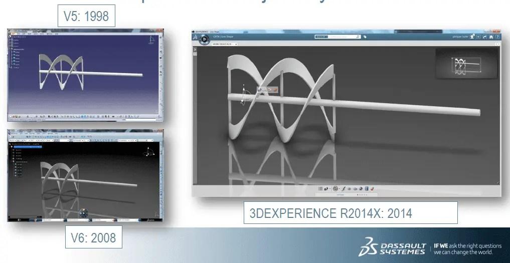 Três imagens de como o software Catia era nas versões V5, V6 e 3D Experience.