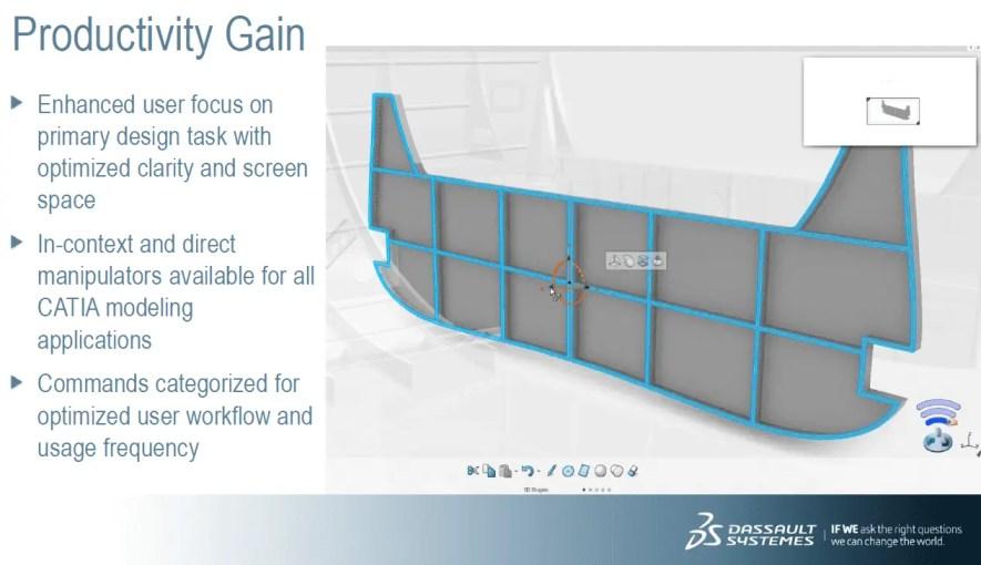 Interface com modelo sendo criado para apresentar as novidades do software. Modelo cinza com faixas azuis mostrando proporções.
