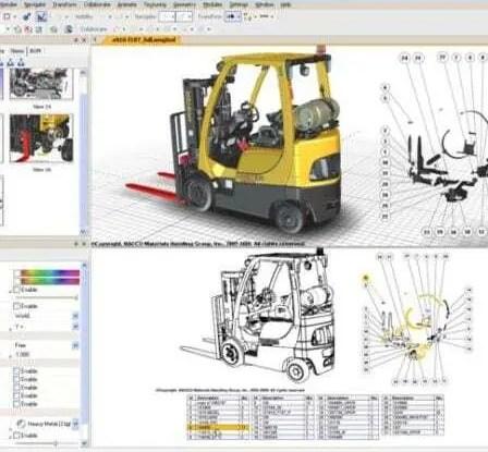 Página de software com modelo de documentação técnica desenvolvida em 3D. Empilhadeira amarela criada pelo software com detalhes em todo corpo do programa.