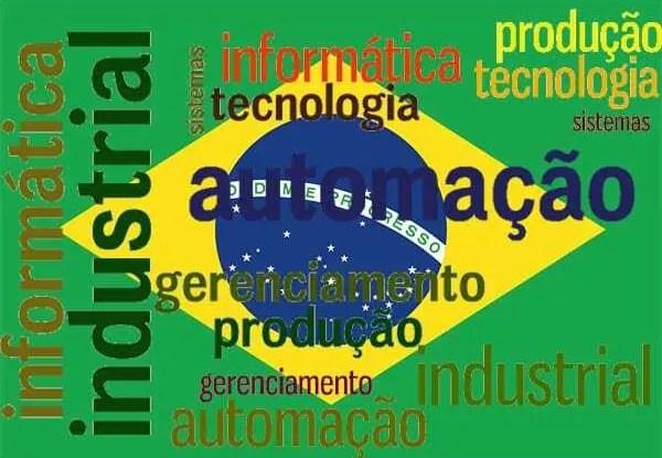 Bandeira Brasileira ao fundo da imagem com informações sobre a indústria 4.0 logo a frente.