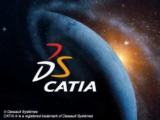 Planeta Terra visto de cima, mostrando uma parte do universo atrás e luz solar atrás da Terra. Logo DS Catia mostrando no centro da imagem.