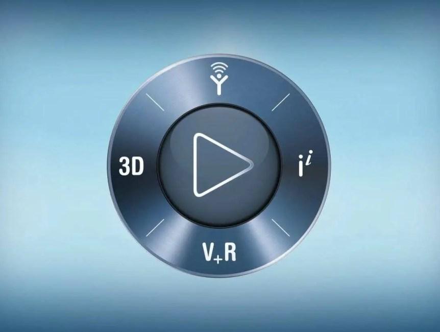 """""""Botão"""" de Play na cor azul escura metalizada com funções que podem ser encontrados no novo Catia 3D Experience."""