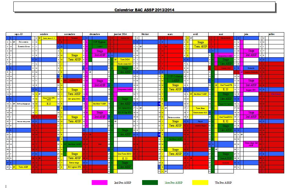 Calendrier ASSP 2013 - 2014