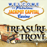 Double points for mobile casino players in Jackpot Capital Treasure Trove casino bonus giveaway