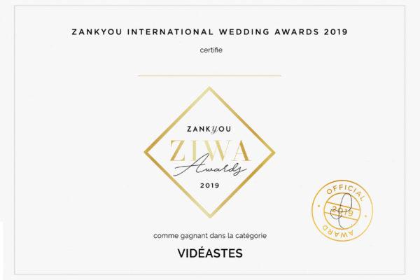 Gagant catégorie vidéaste du Wedding Award Ziwa délivré par le jury de ZankYou International