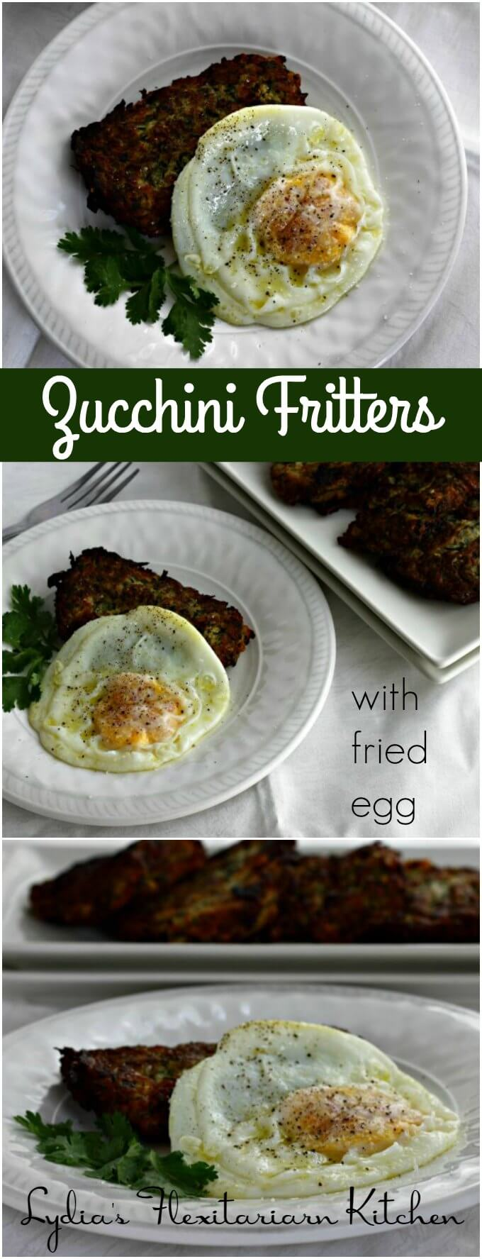 Zarangollo ~ Zucchini Fritters with Fried Egg ~ Lydia's Flexitarian Kitchen