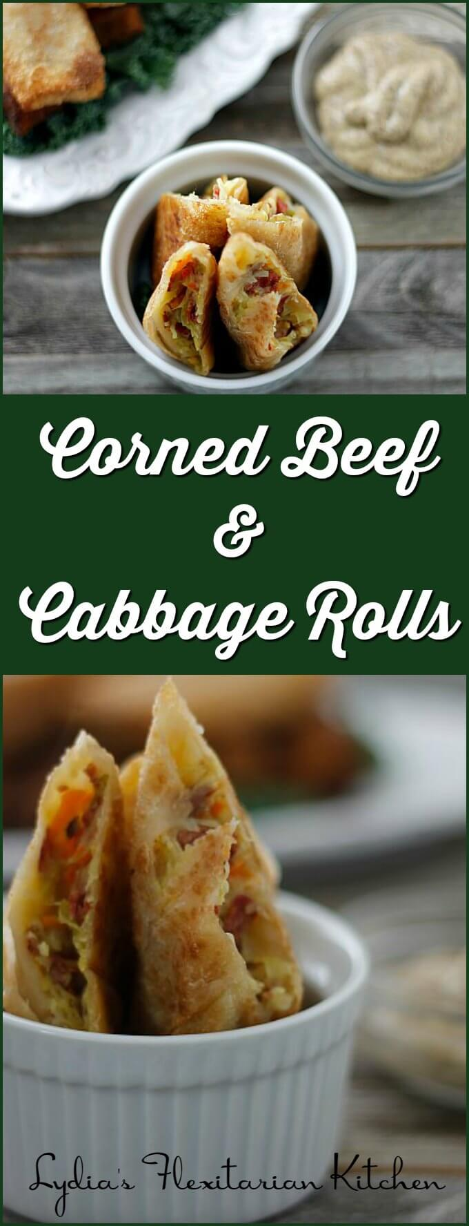 Corned Beef and Cabbage Rolls ~ Make this pub favorite at home! ~ Lydia's Flexitarian Kitchen