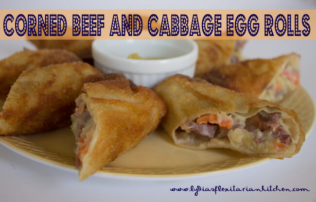 Corned Beef & Cabbage Egg Rolls - Lydia's Flexitarian Kitchen