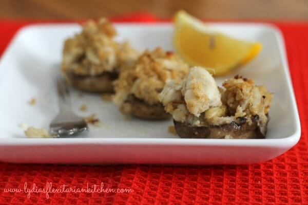 Crab Stuffed Mushrooms ~ Lydia's Flexitarian Kitchen