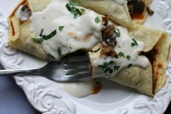Eggplant and Mushroom Crepes ~ Lydia's Flexitarian Kitchen