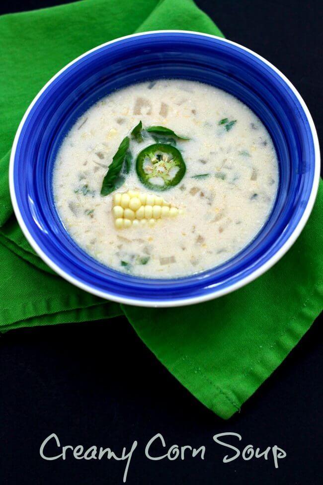 Creamy Corn Soup ~ Lydia's Flexitarian Kitchen