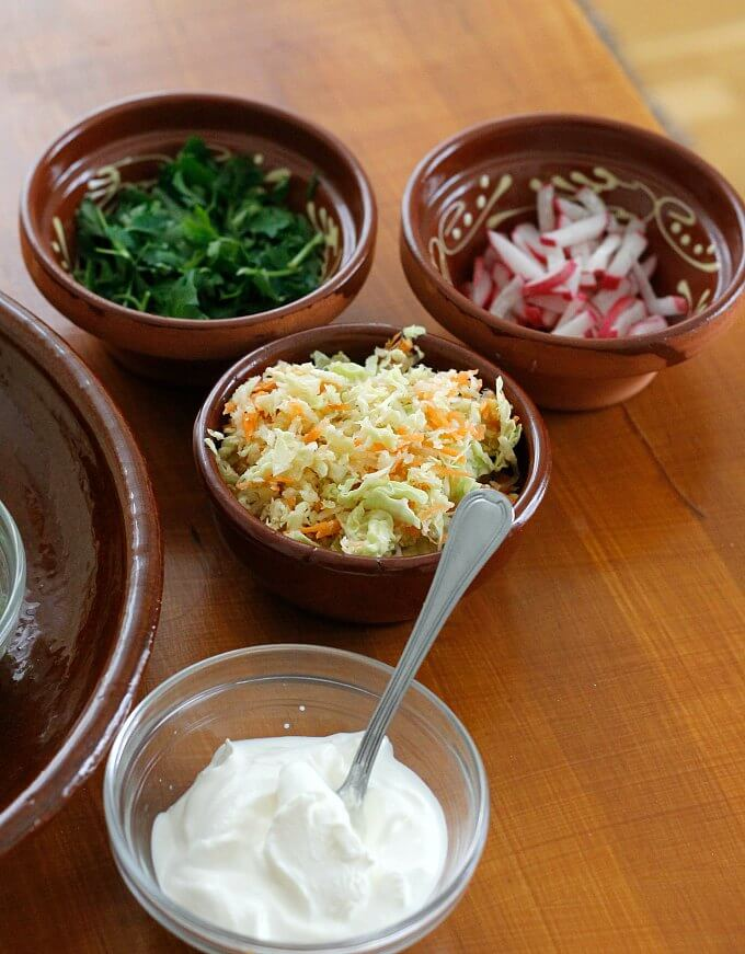 A Selection of Toppings for Pulled Chicken Tacos~ Lydia's Flexitarian Kitchen