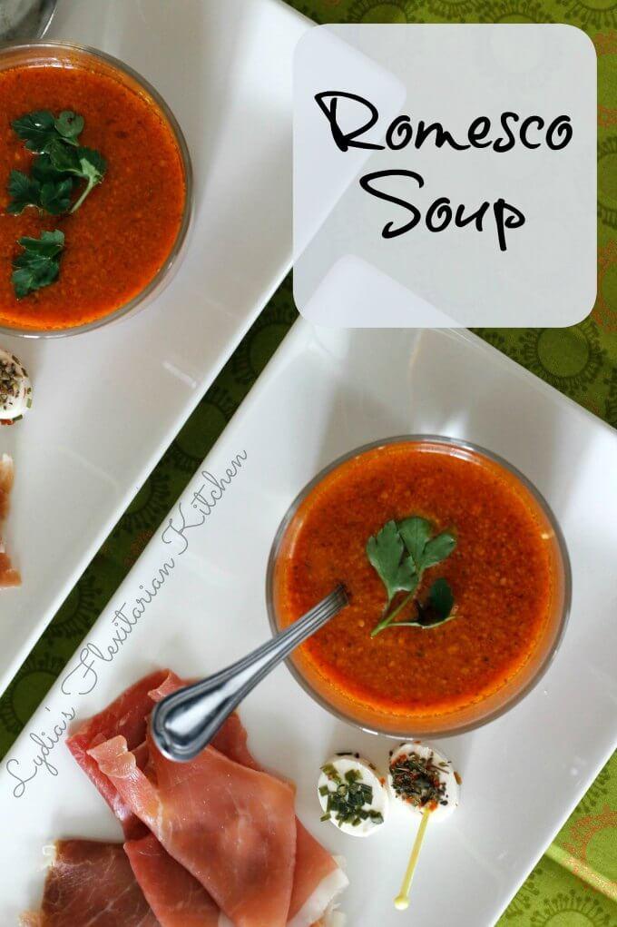 Romesco Soup ~ #RecipeReDux ~ Lydia's Flexitarian Kitchen