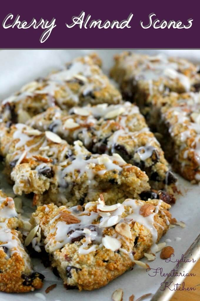 Gluten Free Cherry Almond Scones ~ Lydia's Flexitarian Kitchen