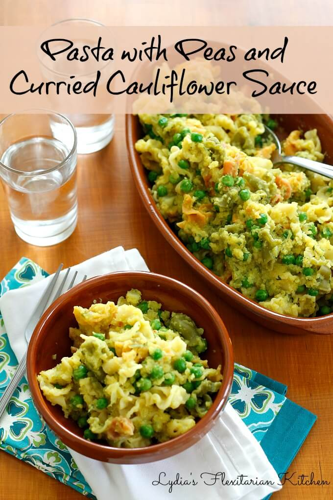 Pasta With Peas and Curried Cauliflower Sauce ~ #ForksOverKnives ~ Lydia's Flexitarian Kitchen